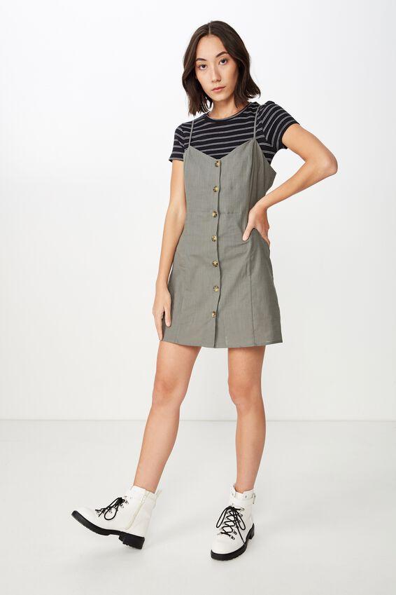 Woven Button Through Dress, SAGE