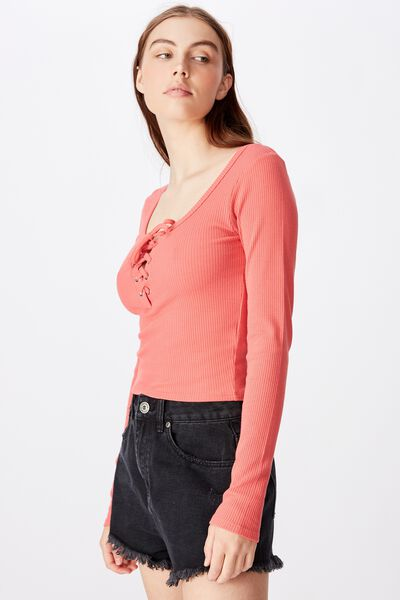 Long Sleeve Laced Up Top, SPICED CORAL