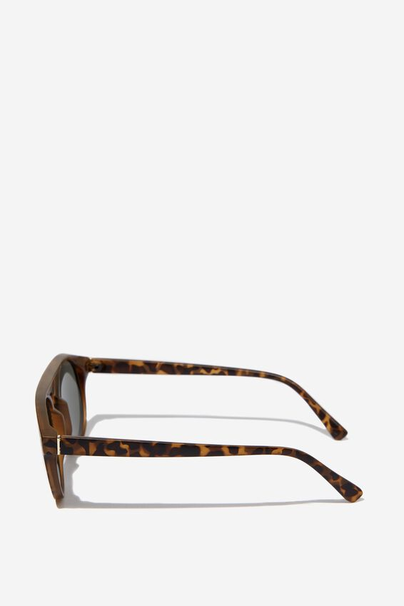 Round Flat Top Sunglasses, MATT CRY SEPIA_GRN