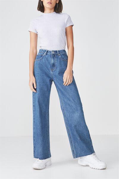 High Waist Wide Leg Jean, BLUE LAKE