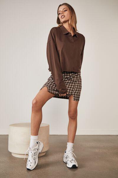 Long Sleeve Crop Polo Top, CHOCOLATE