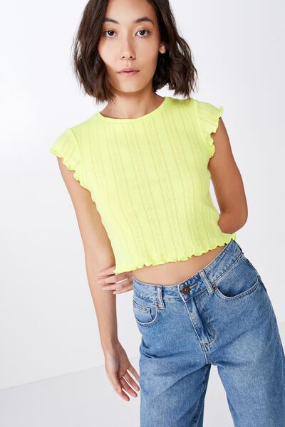 Short Sleeve Pointelle Top, SUNNY LIME