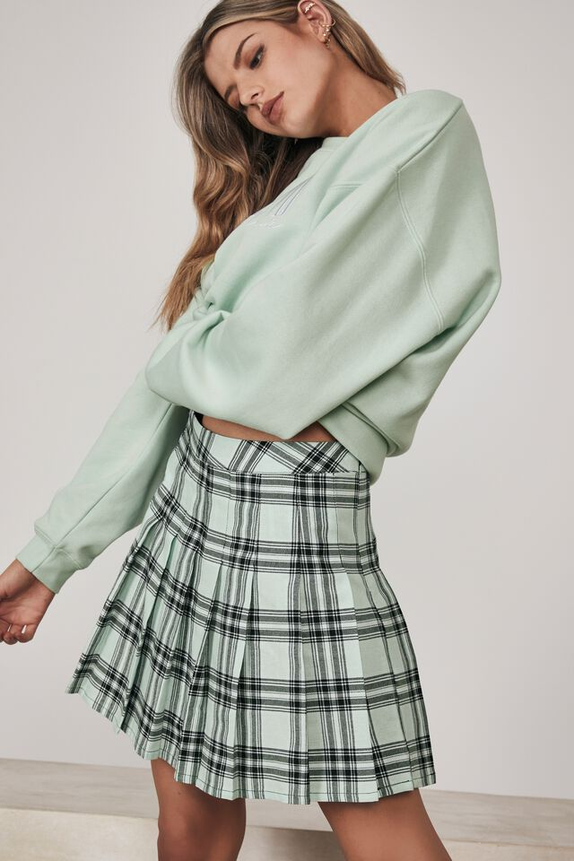 Pleated Skirt, LAYLA CHECK_OPAL BLUE