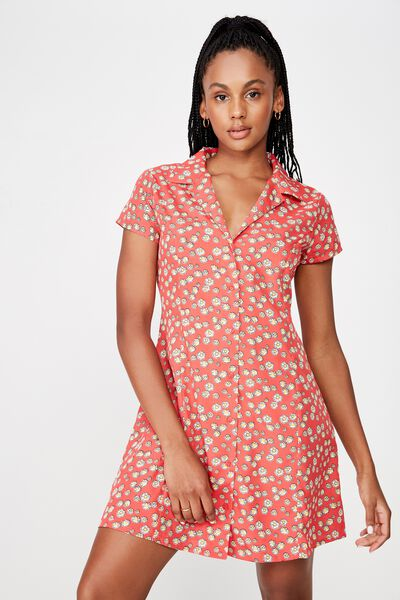 Mini Shirt Dress, RED DAISY