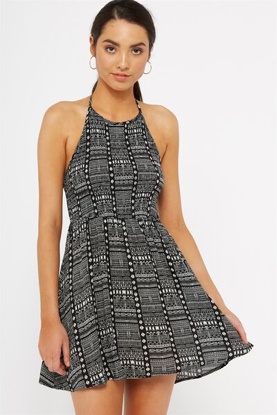 Shirred Halter Dress, AZTEC_MONO_BLACK_WHITE