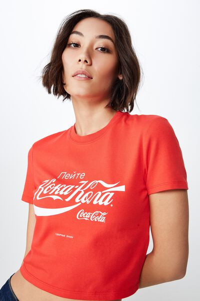 License Fitted Graphic T Shirt, RED/KOKA KOLA