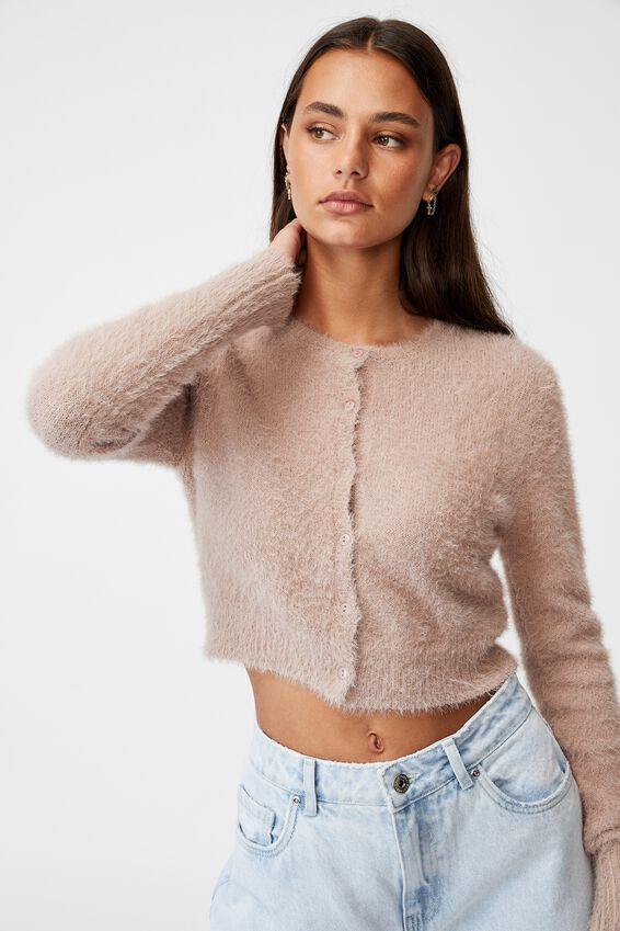 Fluffy Knit Slim Fit Cardi, DIRTY BLUSH