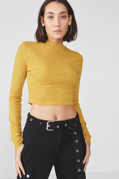 Long Sleeve Funnel Neck Cropped Top, YELLOW/ BLK_STRIPE