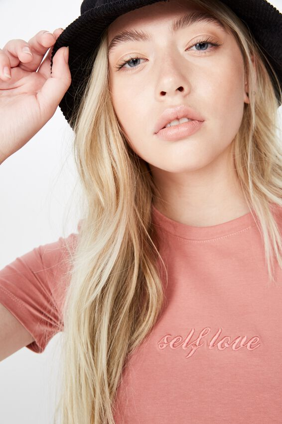 Fitted Graphic T Shirt, DUSTY ROSE/SELF LOVE