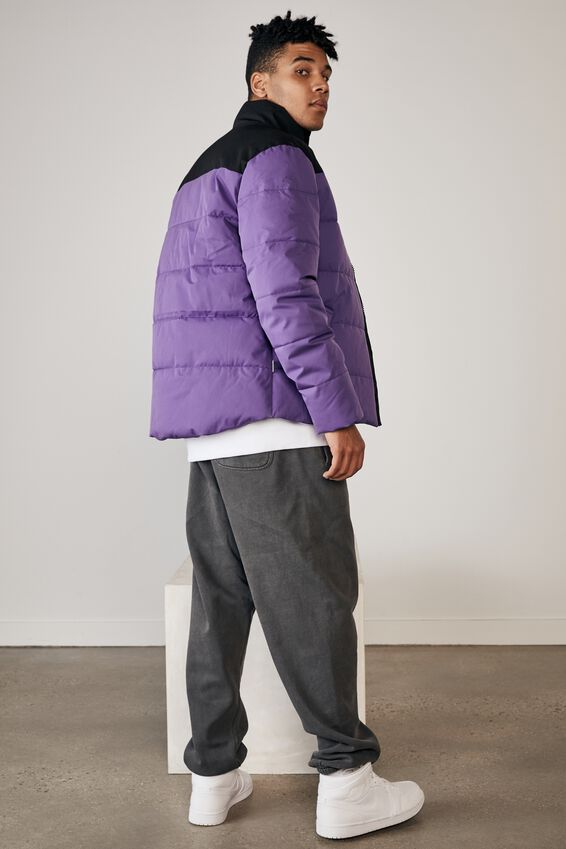 Puffer Jacket, PURPLE/BLACK