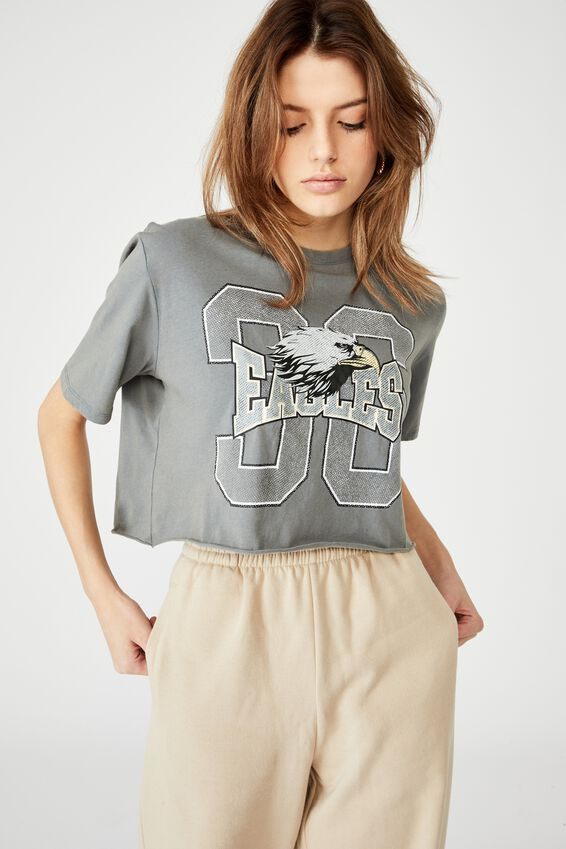Short Sleeve Raw Edge Crop Graphic T Shirt, WASHED GREY/EAGLES