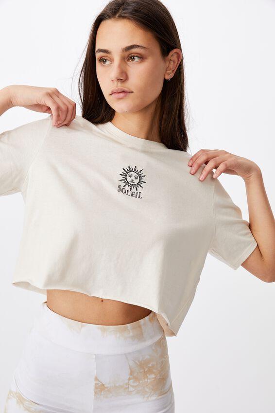 Short Sleeve Raw Edge Crop Graphic T Shirt, WHITE/SOLEIL SUN