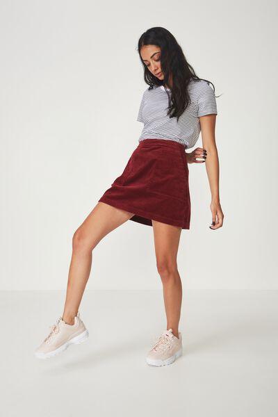 Cord Skirt, CABERNET