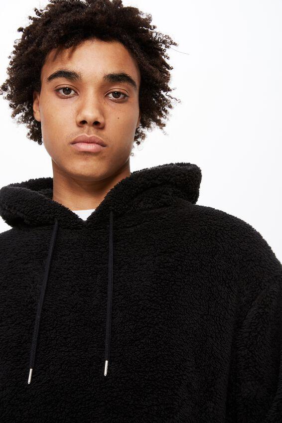 Soft Teddy Hoodie, BLACK