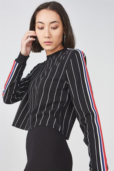 90S Crop Ls Cuffed 2, BLK/ WHITE PINSTRIPE WITH TAPE