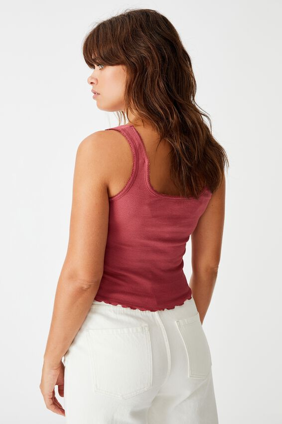 Picot Trim Detail Tank, RUBY PLUM