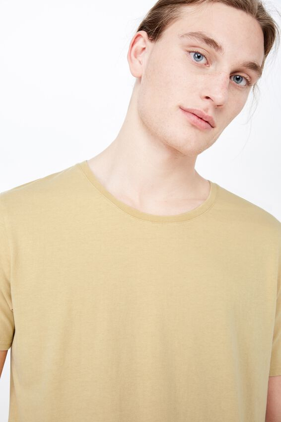 Washed Curved T Shirt, WASHED MUSTARD