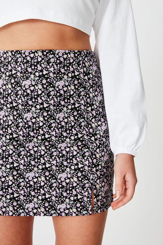 Double Split Mini Skirt, ZARA PURPLE DITSY