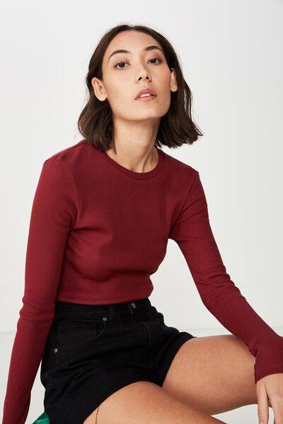 Long Sleeve Rib T Shirt, CABERNET