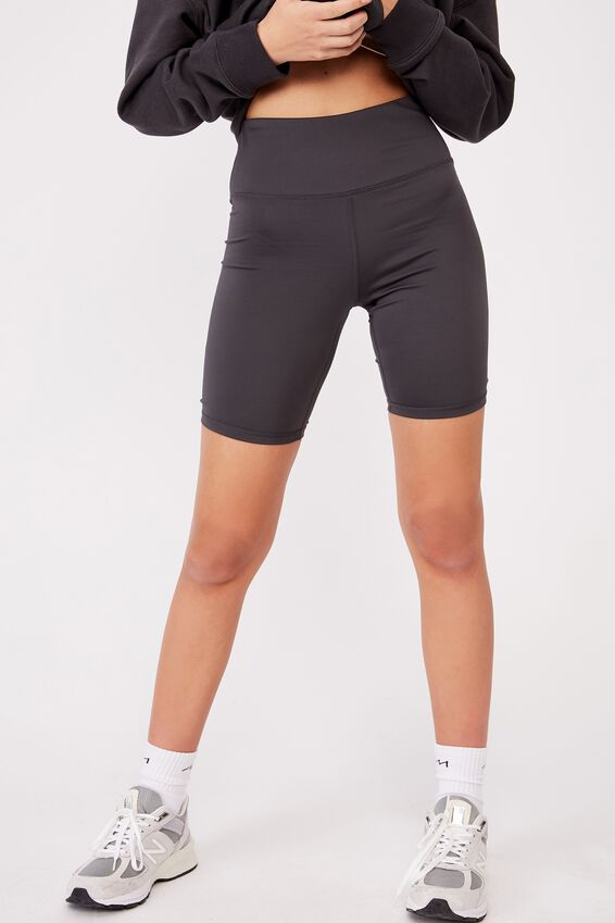High Waisted Elevated Bike Short, ASPHALT