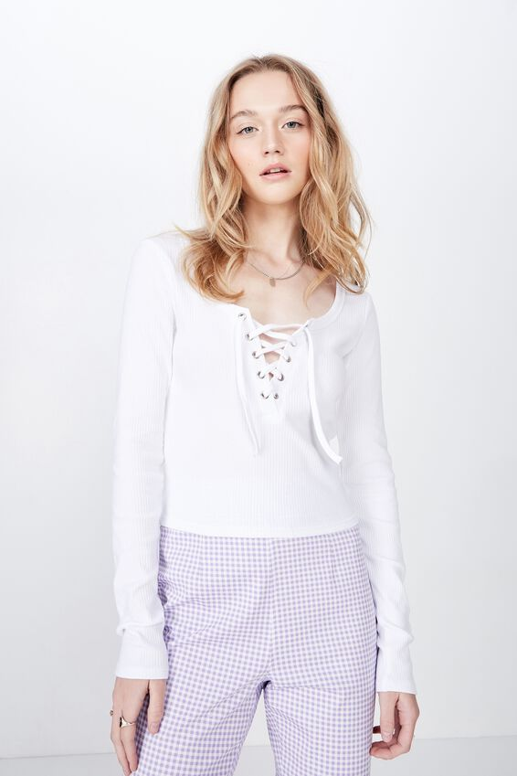 Long Sleeve Laced Up Top, WHITE