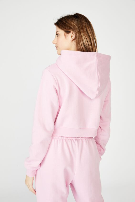 Classic Crop Hoodie, BABE PINK