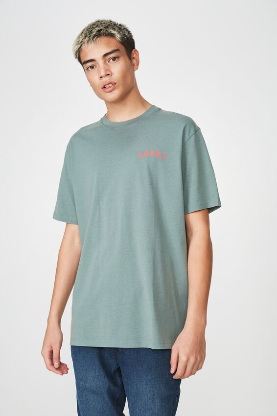 Graphic Washed T Shirt, FARROW GREEN/SORRY