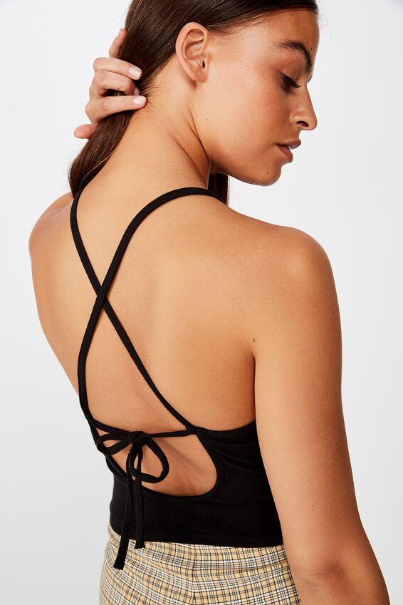 Tie Back Singlet, BLACK