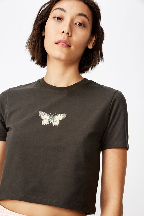 Fitted Graphic T Shirt, BLACK/GOTHIC BUTTERFLY