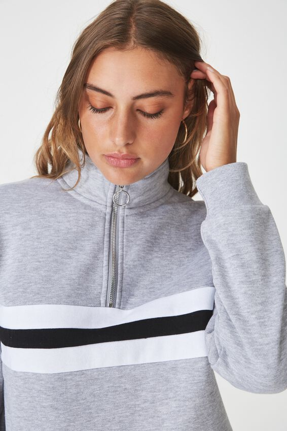Splice Qtr Zip Funnel Neck Fleece, GREY MARLE