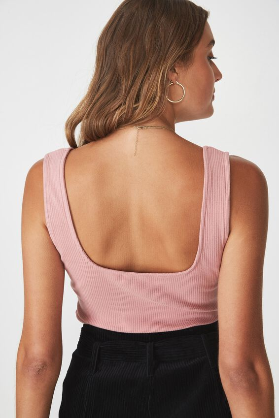 Square Neck Tank, DUSTY PINK