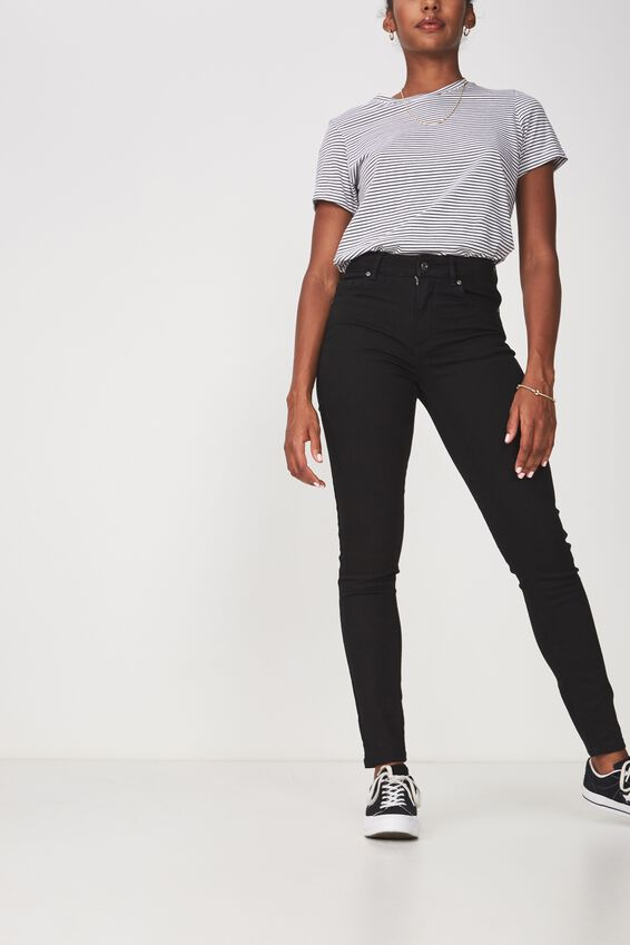 The Skinny Mid Rise Jean, BLACK