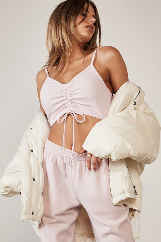 Ruched Front Crop Tank, LILAC SNOW