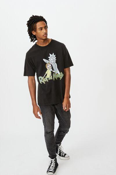 Regular License T Shirt, WASHED BLACK/RICK AND MORTY