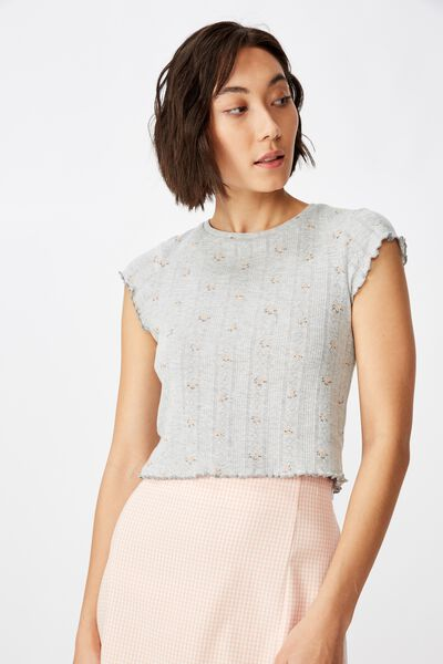 Short Sleeve Pointelle Top, GREY MARLE DITSY