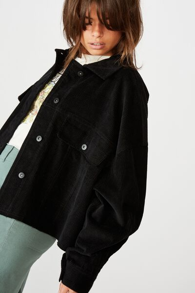 Cord Crop Jacket, BLACK