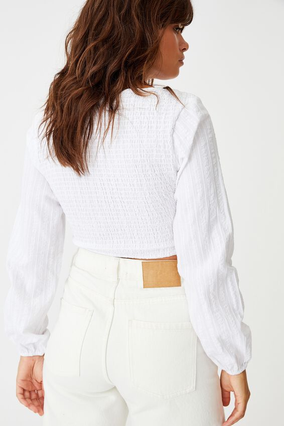 Long Sleeve Ruched Top, WHITE