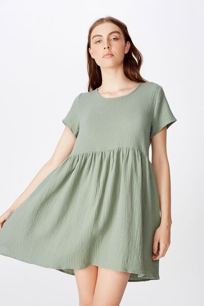 Short Sleeve Babydoll Dress, LILY PAD
