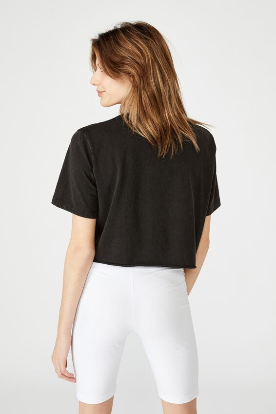 Short Sleeve Raw Edge Crop Graphic T Shirt, WASHED BLACK/BROOKLYN