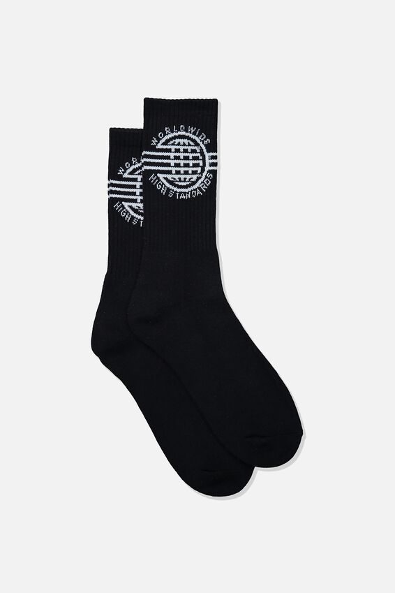 Retro Ribbed Socks, HIGH STANDARDS_BLK