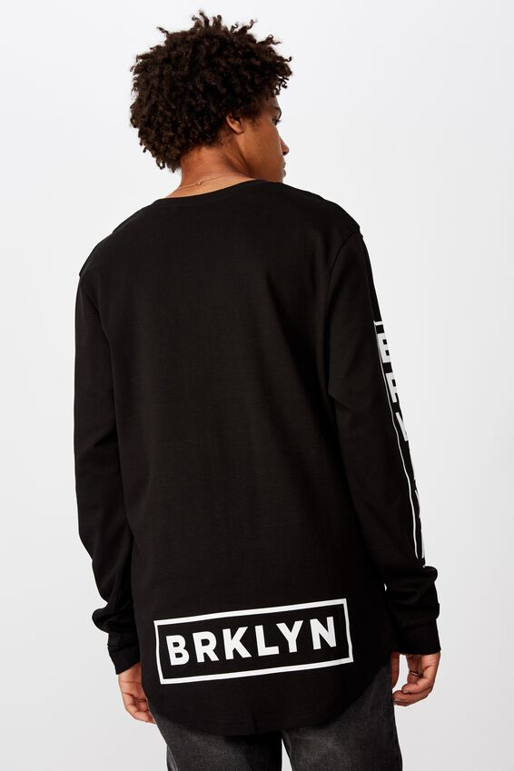 Curved Long Sleeve Graphic T Shirt, BLACK /BRKLYN