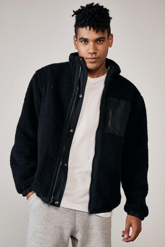 Reversible Sherpa Ski Jacket, BLACK/BLACK