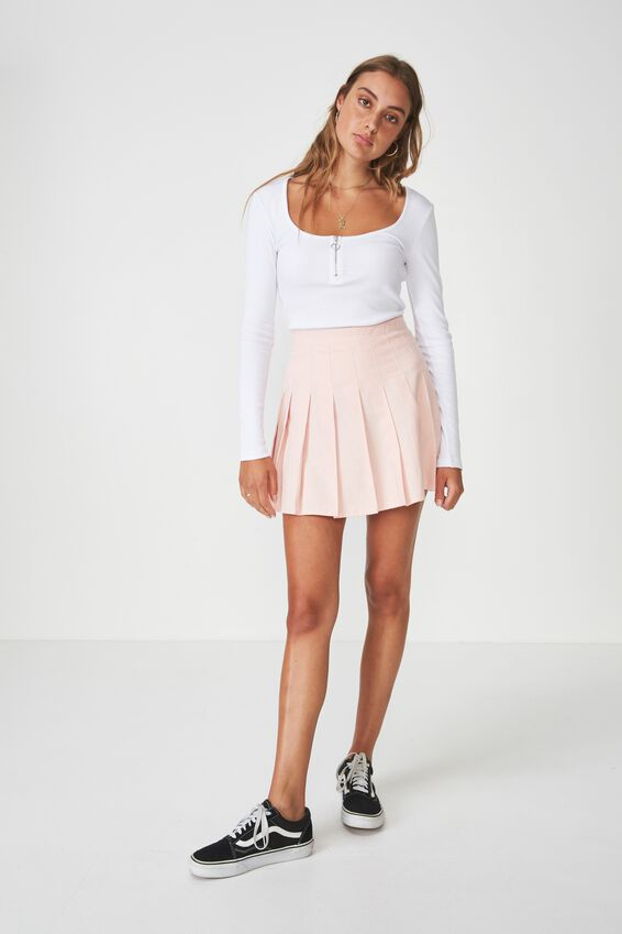 Pleated Skirt, STRAWBERRY CREAM