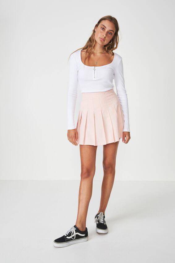 Pleated Skirt, STRAWBERRY CREAM