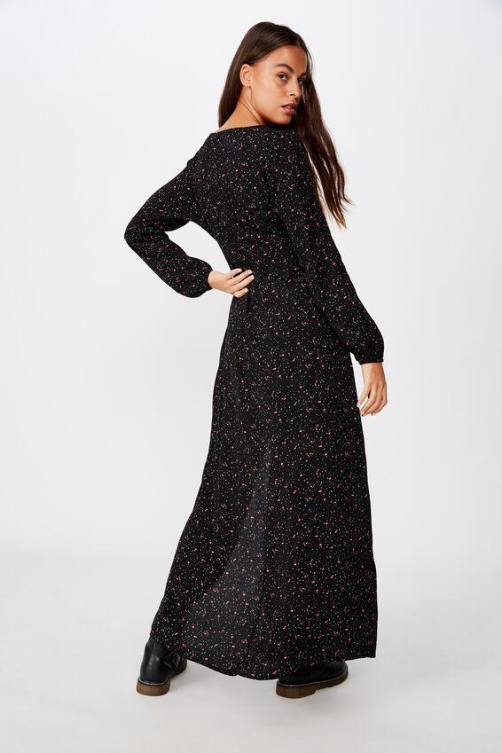 Long Sleeve Maxi Dress, BLACK SPLATTER FLORAL