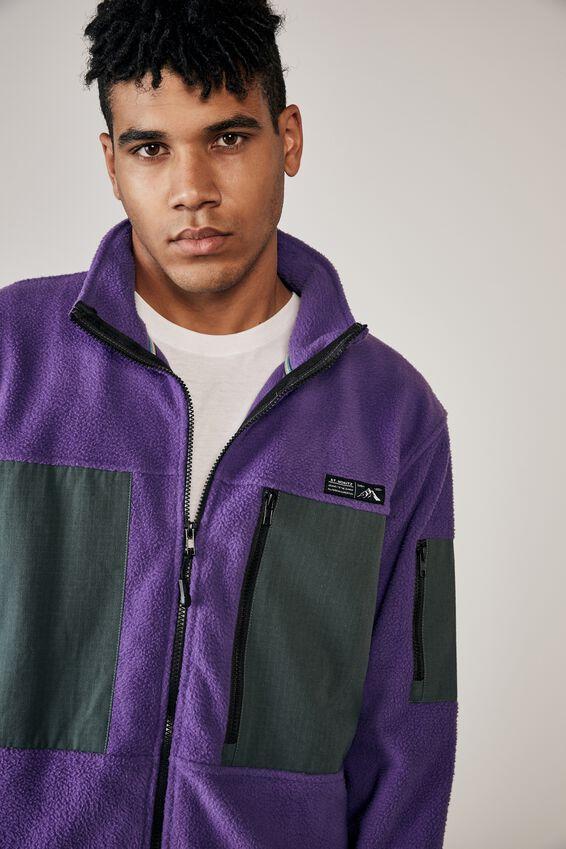 Teddy Zip Thru Mountain Jacket, PURPLE/PINE TEAL