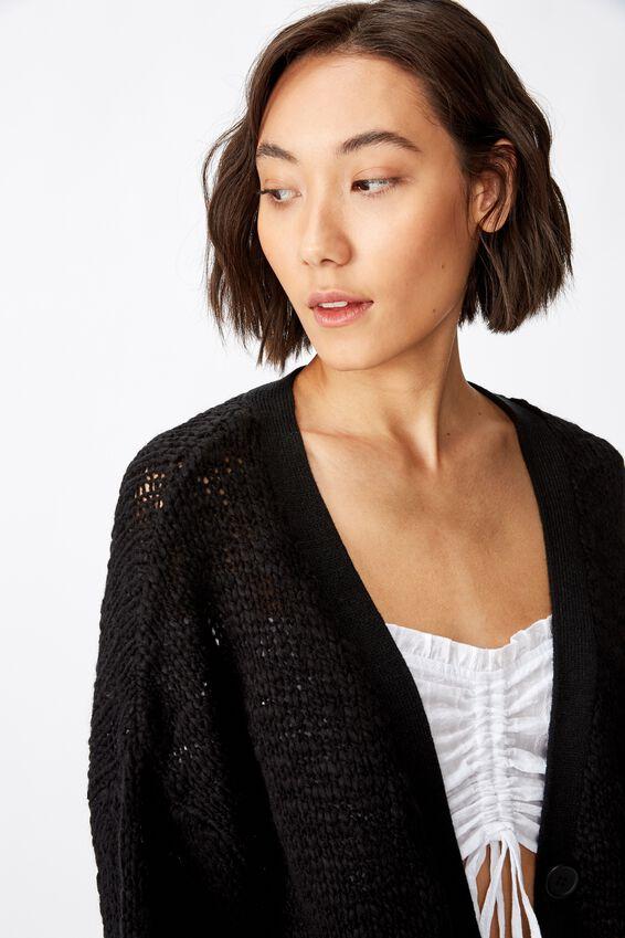 Oversized Chunky Knit Cardi, BLACK