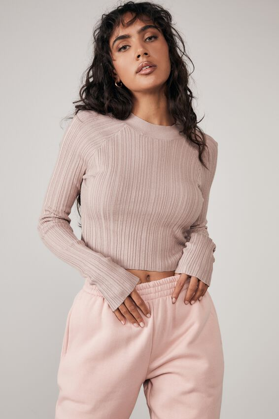 Variegated Rib Knit Long Sleeve Top, DIRTY BLUSH