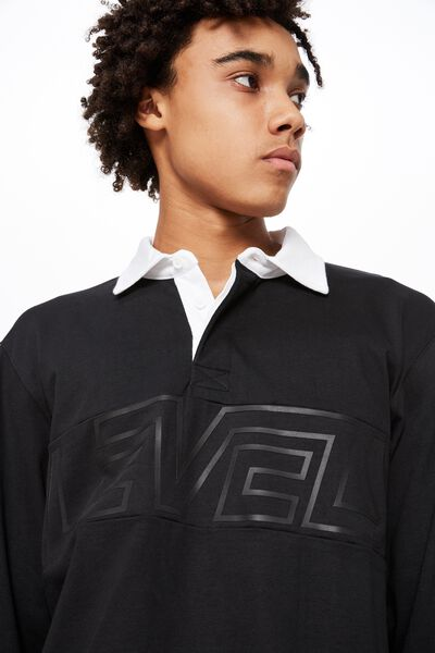 Rugby Top, BLACK/LEVELS