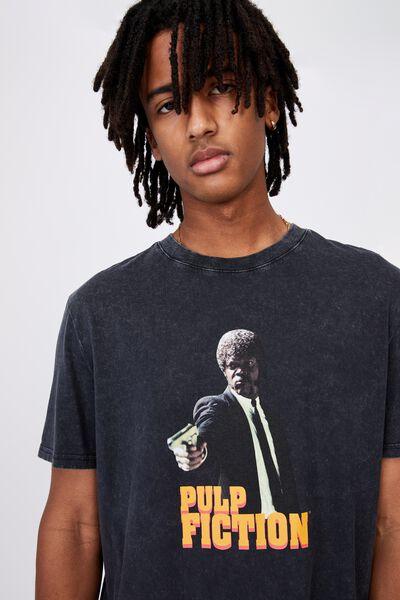 Regular License T Shirt, LCN MIR WASHED BLACK/PULP FICTION PASSAGE